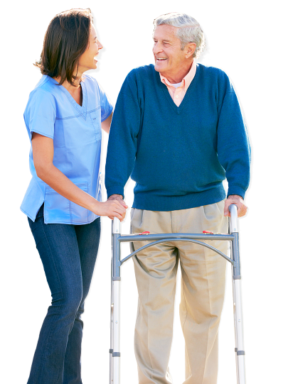caregiver and patient at looking each other