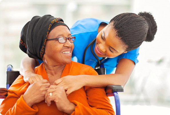 caregiver and patient looking at each other